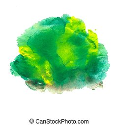 Abstract acrylic spot isolated on white background. Green, yellow vibrant color. Monotyped hand drawn grunge stain.