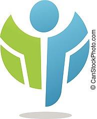abstract, actief, figuur, logo