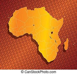 abstract, afrika, kaart, met, land, randjes