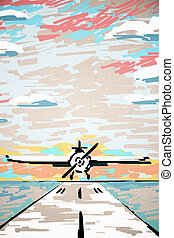 Abstract airplane on runway drawing
