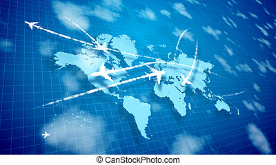 Abstract airplanes cruising over the world atlas