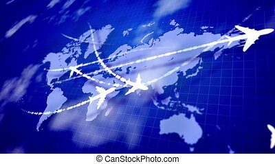 """""""An impressive 3d rendering of white toy airplanes moving along the routes marked with smoky lines on the violet world map placed aslant. They arouse the spirit of innovation and confidence. """""""