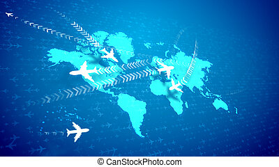 Abstract airplanes moving over the global map