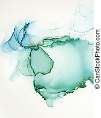 Abstract alcohol ink art drawing background blue and green with golden detail