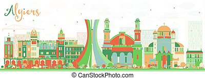 Abstract Algiers Skyline with Color Buildings.
