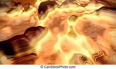 Abstract alien landscape with a methane lake.