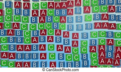 Abstract alphabet cubes in green