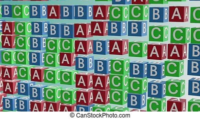 Abstract alphabet cubes in red, blue