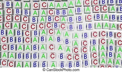 Abstract alphabet cubes on white