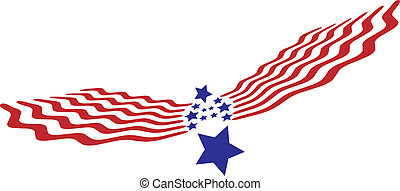 Abstract American Eagle with flag - Abstract American Bald...