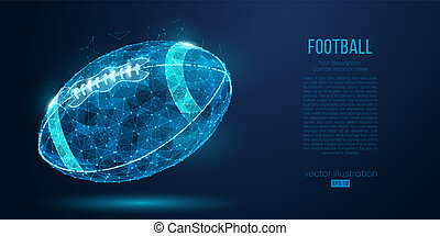 Abstract American football ball from particles, lines and triangles on blue background. Cyber technology rugby. All elements on a separate layers color can be changed in one click. Vector illustration