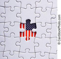 abstract, amerika, amerikaan, achtergrond, achtergrond, spandoek, closeup, kleur, concept, verkiezing, vlag, plat, vrijheid, spelen, regering, grafisch, vakantie, pictogram, illustratie, onafhankelijkheid, jigsaw, juli, vrije tijd, vrijheid, metafoor, missende , natie, nationale, objec, voorwerp, deel, patriot, vaderlandslievend, vaderlandsliefde, stuk, politiek, raadsel, raster, rood, meldingsbord, oplossing, ster, staten, symbool, verenigd, eenheid, usa, behang, witte