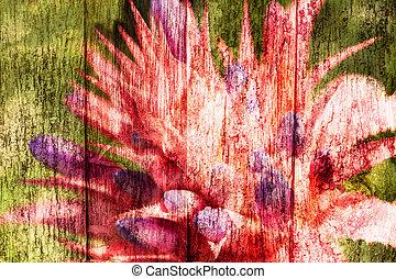 abstract, ananas, rose bloemen, op, houten, ouderwetse , achtergrond