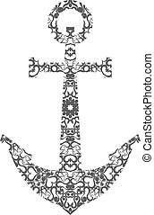 Abstract Anchor Silhouette with Pattern. Vector