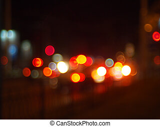 Abstract and blur colored lights of the night city