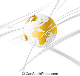 Abstract and Business Background with globe map and wavy lines.