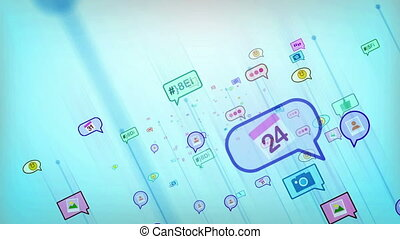 """""""A cheerful 3d rendering of flying social network bubbles from colorful emoticons, quotation, marks, brackets, figurative, images and spots in the light blue background. Loopable. """""""