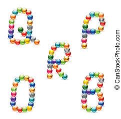 abstract  and colored circle symbols set