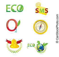abstract and glass nature eco symbols set