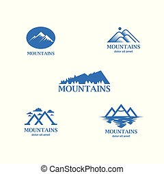 Abstract and minimalistic blue mountains logo set.