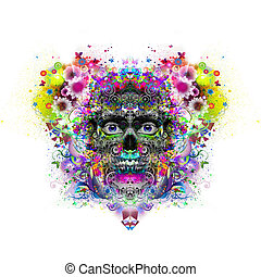 Abstract and mystic face in skull mask