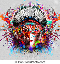 Abstract and mystic woman face colorful illustration