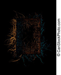 Abstract and predatory dark frame full of tentacles or spikes. Isolate on a black background 3d illustration. Copyspace for your design or text
