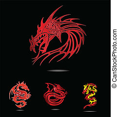 abstract and tradition religion red dragons symbols