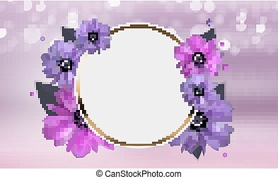 Abstract Anemone Flower Realistic Vector Frame Background