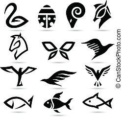 Abstract animal icons silhouettes - Vector illustration of...