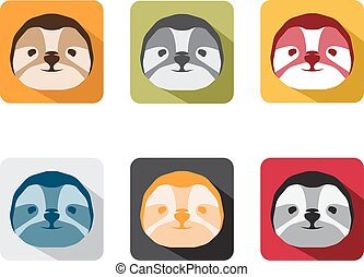 abstract animal sloth flat design vector icons set