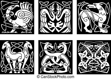 Abstract animals and birds in celtic style