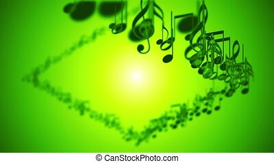 Abstract animated background with colorful music notes.
