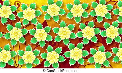 Abstract animated flat background of painted flowers