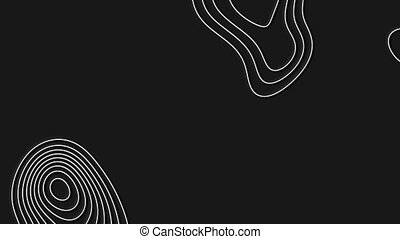 Abstract animated outline topographic contour map.