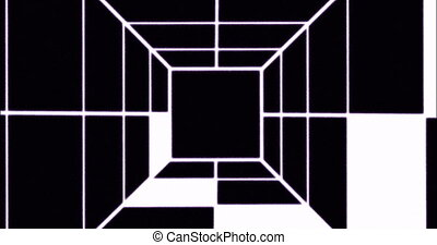Abstract animation background with flight in abstract futuristic tunnel with neon light. 4k motion design. Animated black and white tunnel. Loop animation.