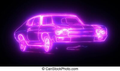 Abstract animation car made with light beam wireframes on...