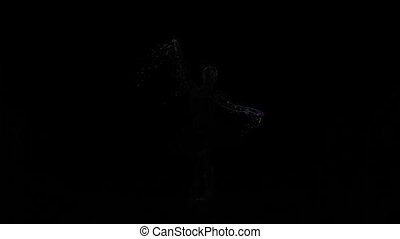 Abstract animation flying particles dancing girl ballerina in slow motion