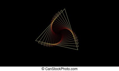 Abstract animation of graphic elements in different rainbow colors on a black background - movement of triangles in rotation moving out from the center of the screen