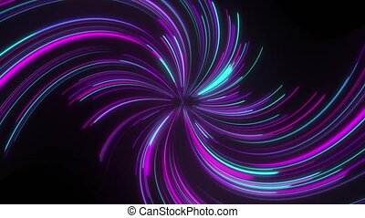 Abstract animation of neon lines twisted into spiral. 4k 60 ...