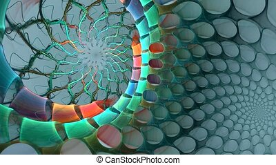 Abstract animation: spiral in space turns into grid.