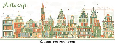Abstract Antwerp Skyline with Color Buildings.