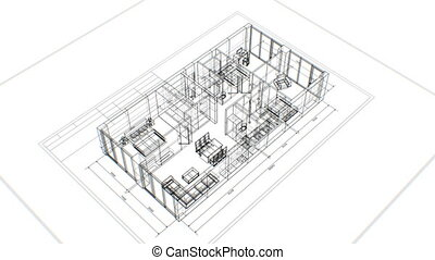 Abstract Apartments Building Process with Furniture on White...