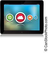 abstract, app, achtergrond, tablet, iconen