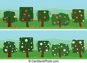 abstract apple garden banner