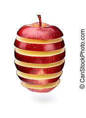 Abstract apple slices - A red apple sliced in layers and...
