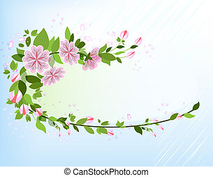 Abstract apple tree branch vector background with copy space.