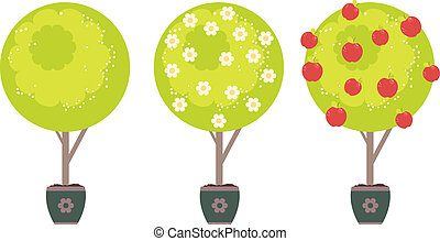 Abstract Apple Tree - Cartoon stylized green tree with white...