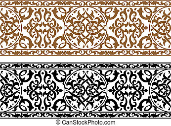 Abstract arabic ornament in two colors for design and ornate