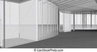 abstract, architecturaal, 3d, construction., concept, -, moderne architectuur, en, designing.